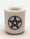 Candle, Candles, Mini, Pentacle, Candle Holder, Porcelain, White