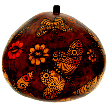 Andes, Peru, Fair Trade, Boxes, Box, Gourd, Floral, Insects, Handcarved