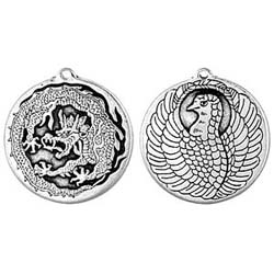 Good Fortune, Pendant, Longevity, Phoenix, Dragon, High Concepts, Leadfree, Pewter, Amulet