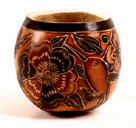 Andes, Peru, Fair Trade, Bowl, Gourd, Floral, Insects, Handcarved