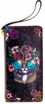 Floral Cat Black Wrist Wallet, Crystal Peddler